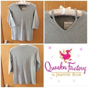 Quacker Factory Sweater Gray Rhinestones